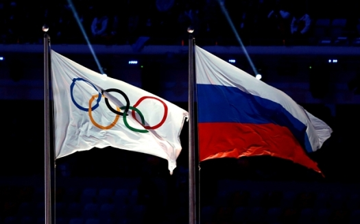 Athletics - Russian and Olympic Flags