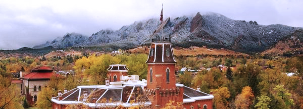 Old Main and Flatirons with Clouds in the Fall
